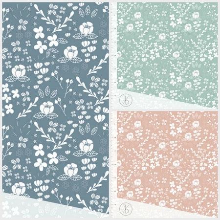 Tygbild, tyg till Meps - Flora, färgcollage