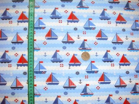 Tygbild, tyg till Meps - Segelbåtar, Blå #ME457, ökotex