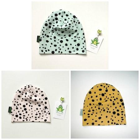 Baggymössor i Leopard Dots - färgcollage