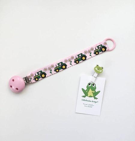 Napphållare med Traktorer - Flower, Rosa #N133 med träclips ljusrosa