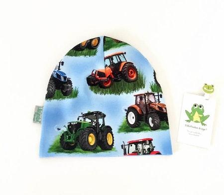 mössa - Traktor Blå,  ekologisk trikå #M448s (tidigare tryck med mindre traktorer)