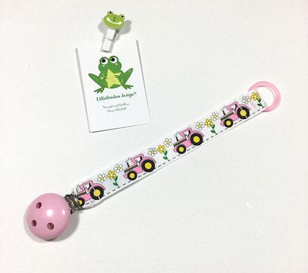Napphållare - Flower, Vit #N129, rosa träclips och rosa silikonring