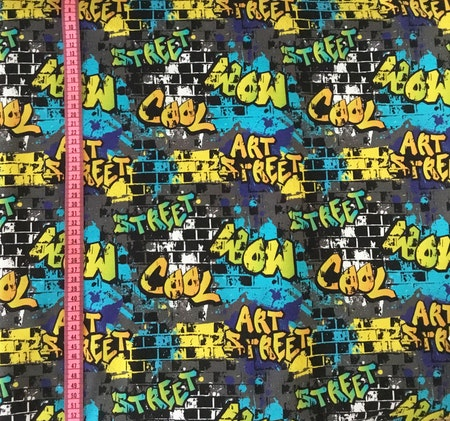 Tygbild, tyg till mössa - Graffiti Grå, ekologisk trikå