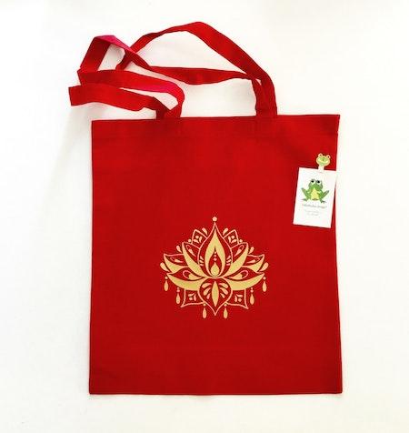 Tygkasse Röd med Lotusblomma i vinyl Guld