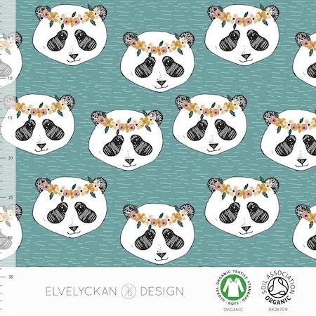 Tygbild, tyg till mössa - Panda Flora, ekologisk trikå/GOTS