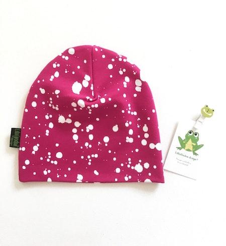 mössa - Splatters Fuchsia, ekologisk trikå GOTS