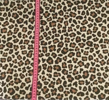 Tygbild, tyg till mössa - Leopard Beige, ökotexmärkt trikå