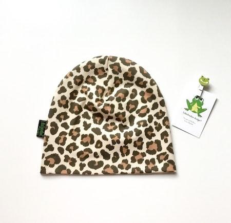 mössa - Leopard Beige, ökotexmärkt trikå