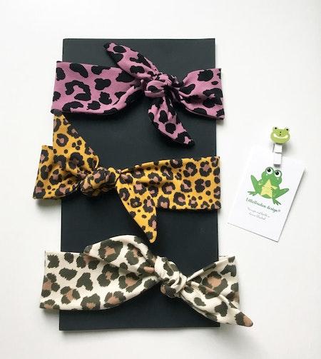 Knythårband - Leopard Ljung, Leopard Senap, Leopard Beige/Brun