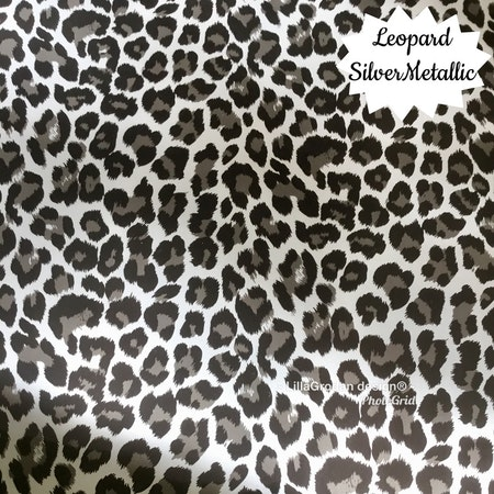 Bokstavsmössa Vinyltryck - Leopard SilverMetallic