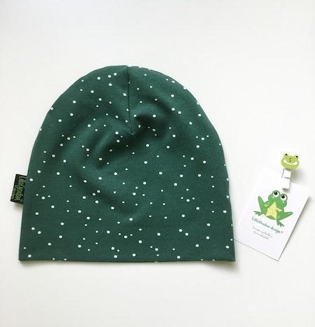 mössa - Dotty Spots Grön, #570, ekologisk trikå/Gots