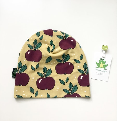 mössa - Äpplen Guld/Vin, #569, ekologisk trikå/Gots