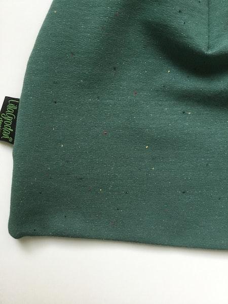 mössa - Confetti grön, ekologisk collegetrikå, närbild