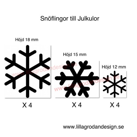 Snöflingor till julkulor, 12pack