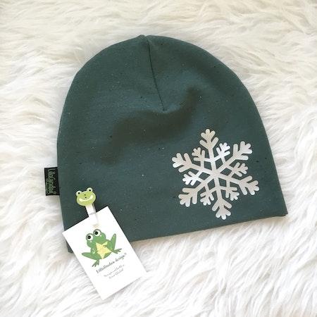 mössa - Confetti grön, ekologisk collegetrikå med snöstjärna i reflexvinyl