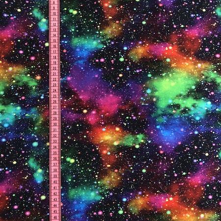 Tygbild, tyg till mössa - Rymdexplosion Neon #M585, ökotex