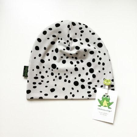 mössa - Leopard Dots, Gråbeige #M580, ekologisk trikå/Gots
