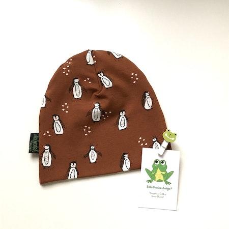 mössa - tyg Pingviner, Brun #575, eko