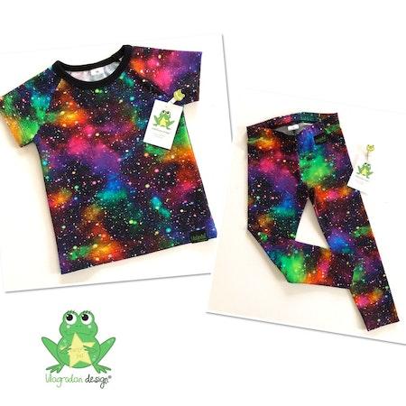 Leggings och Tshirt i tyg Rymdexplosion, Neon #585, ökotex