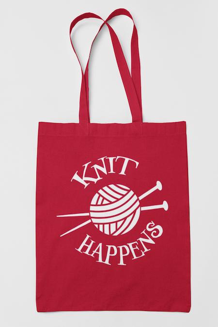 Tygkasse Knit Happens, röd