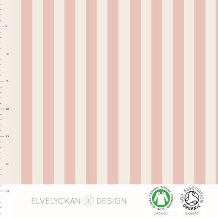 tyg Ränder Lodrät Puderrosa/Creme, ekologisk GOTS-trikå