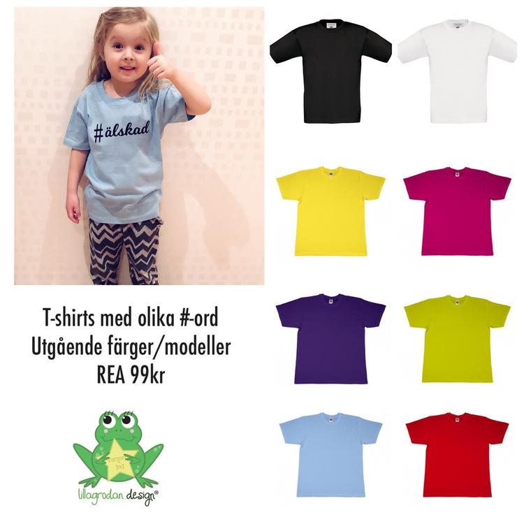 T-shirts med valbara Hashtags - REA! Utgående färg/modell