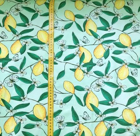 Tygbild, tyg till mössa - Citroner, grön, #593, ökotex