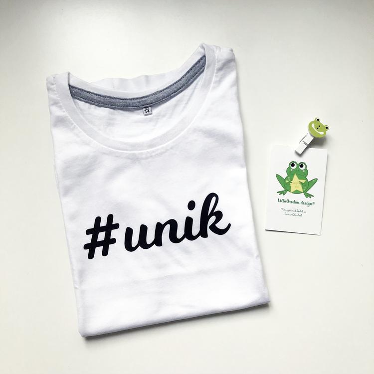 T-shirt #unik, strl 3-4 år (ca 98/104)