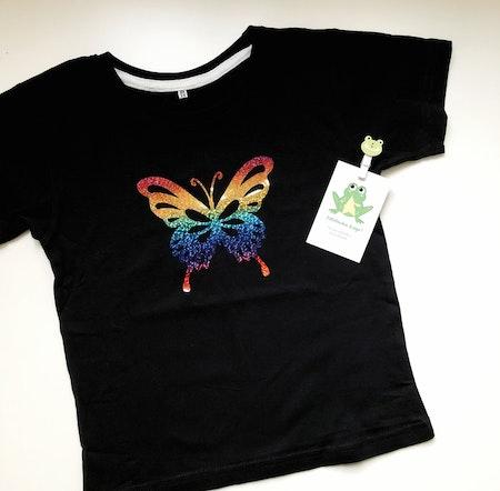 T-shirt med fjäril, strl 3-4 år (ca 98/104)