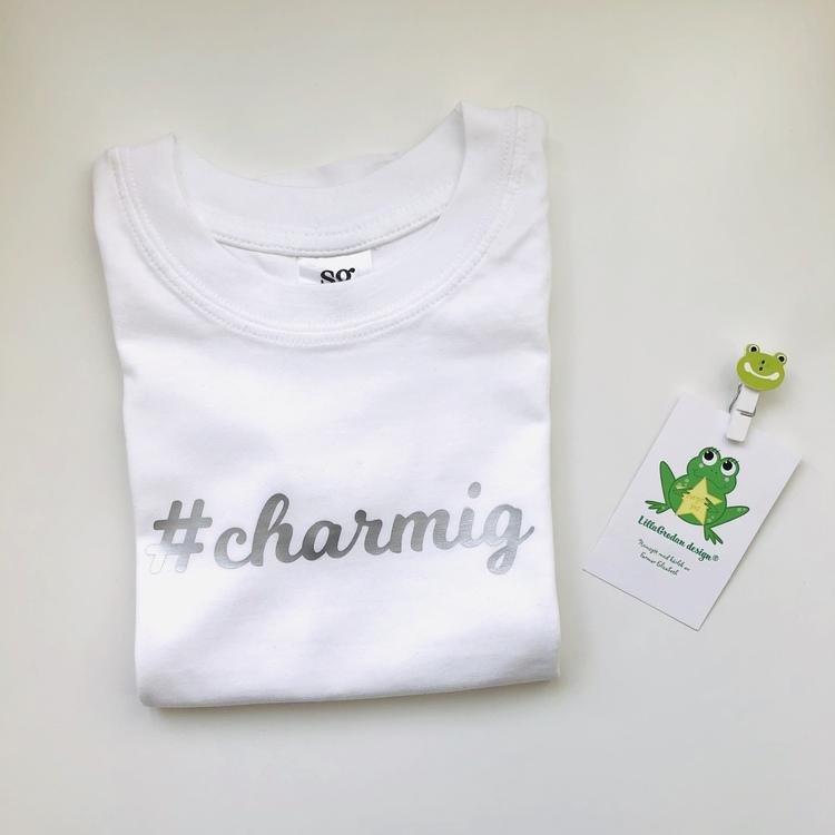T-shirt #charmig, strl 1-2 år (ca 86/92)
