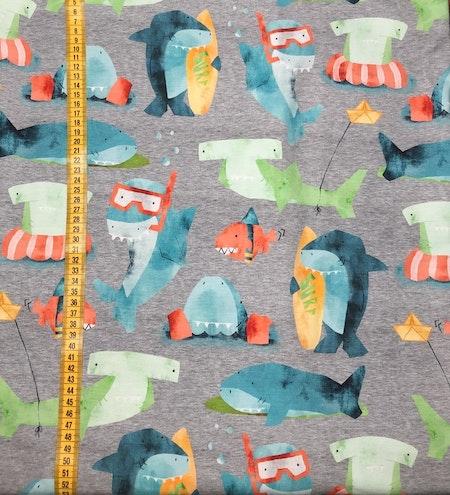 Tygbild, tyg till mössa - Hajar, Gråmelerad, #595, ökotextrikå