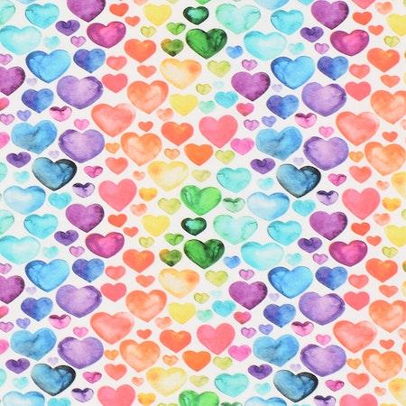 tyg Hjärtan, Regnbågsfärg - ökotexmärkt trikå