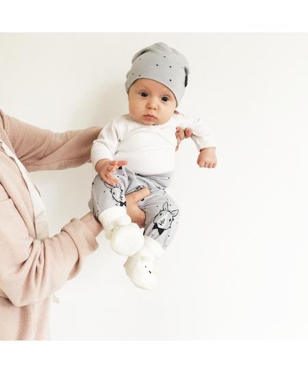Babyset - Kanin H och Kanin H Prick, Ljusgrå, baggymössa/baggybyxa (tyget slutsålt)