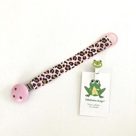 Napphållare Leopard Rosa med ljusrosa träclips, babyrosa O-ring
