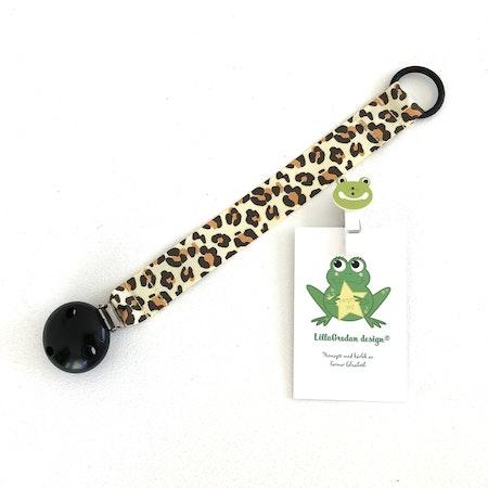 Napphållare - Leopard Gul #N28, svart silikonring, svart träclips