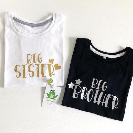 Tshirt Big Sister i guldvinyl, Big Brother i silvervinyl
