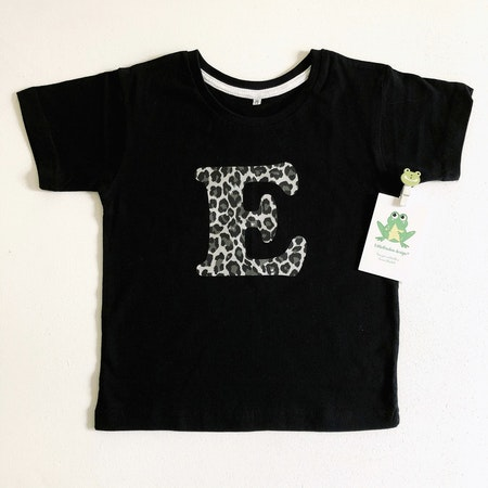 Tshirt med bokstav, vinyl Leopard Silvermetallic
