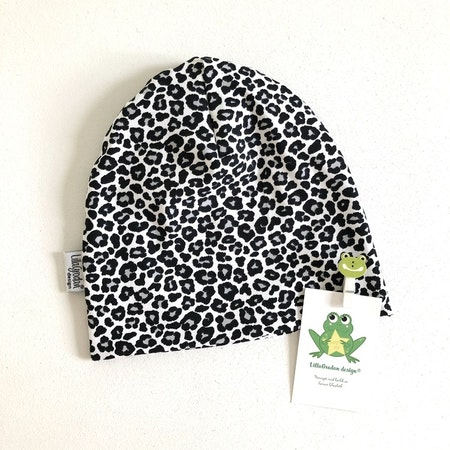 Baggymössa  - tyg Leopard Mini, Gråsvart #606, ökotex