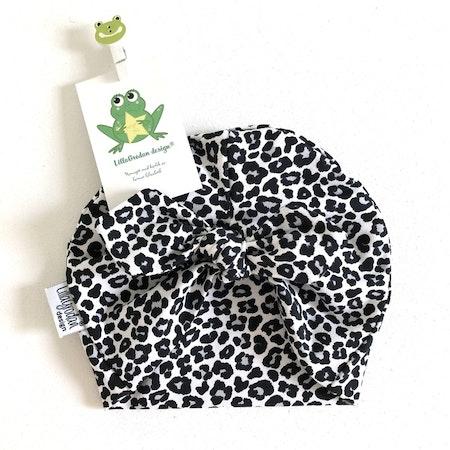 Turbanmössa, tyg Leopard Mini, gråsvart #606