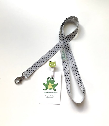 nyckelband - PolkaPrick, Ljusgrå/Svart #NB15
