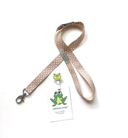 nyckelband - PolkaPrick, Nougat/Vit #NB12