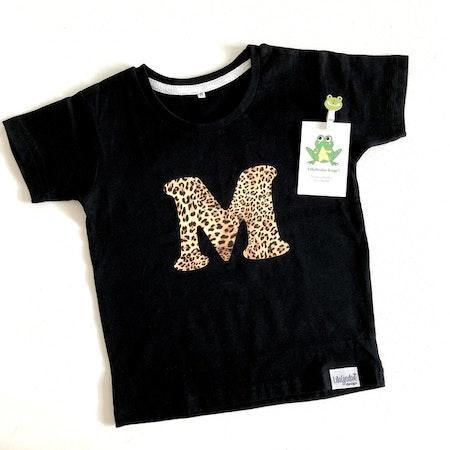 Tshirt med bokstav, vinyl Leopard, typsnitt 1