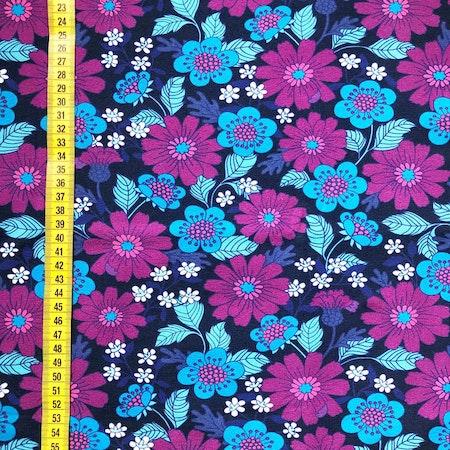 Tyg till mössa - Blommor Florens, lila #609