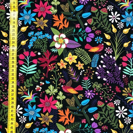 Tyg - Blomstermix, svart #610