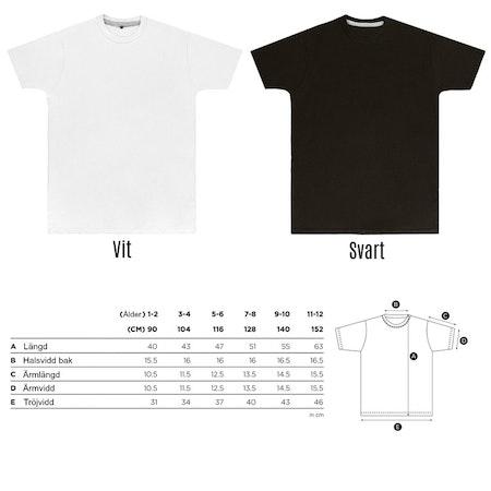 Tshirt med vinyltryck - måttabell