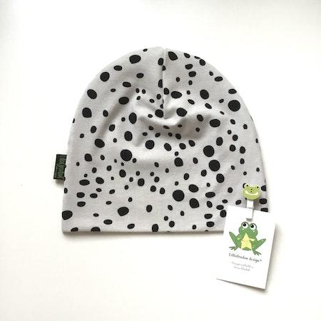 Mössa Leopard Dots, grå, strl 50/52 - Leveransklart