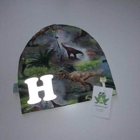 Bokstavsmössa - Dinosaurier med med reflexvinyl (kvällsljus)