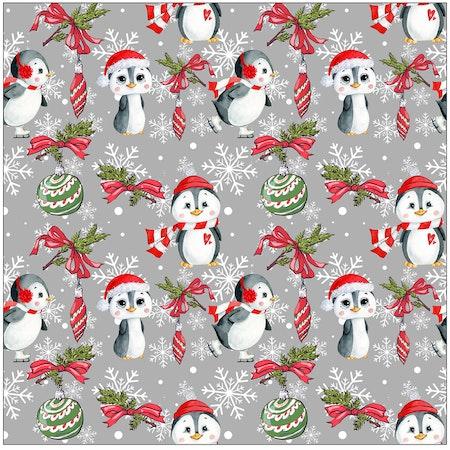 Baggymössa JulPingviner, grå, tygbild 1