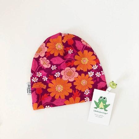 Mössa - Blommor Florens, cerise - M608-L