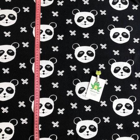 Tyg till baggymössa - Panda X, Svart #624